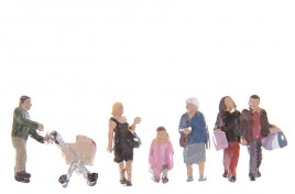 Shopping Figures x 6 & 1 Pushchair N Scale