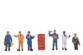Traction Maintenance Depot Workers x 6 & Equipment N Scale