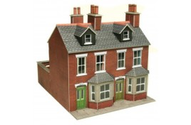 Red Brick Terraced Houses Card Kit OO Scale