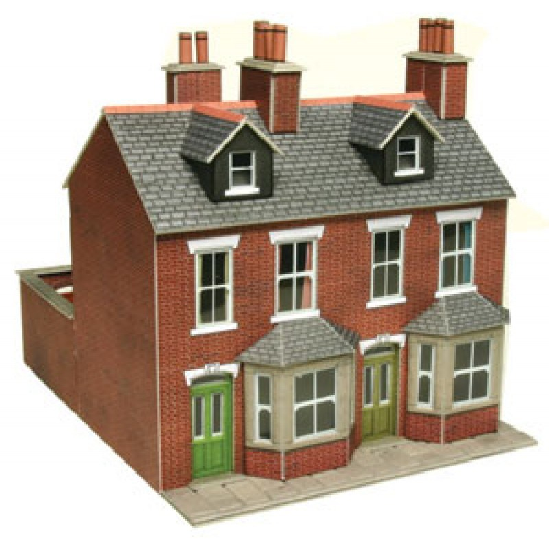 Red brick terraced houses card kit oo scale for Brick kit homes
