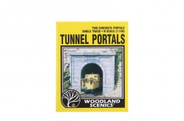 Single Track Tunnel Portals Concrete x 2 N Scale