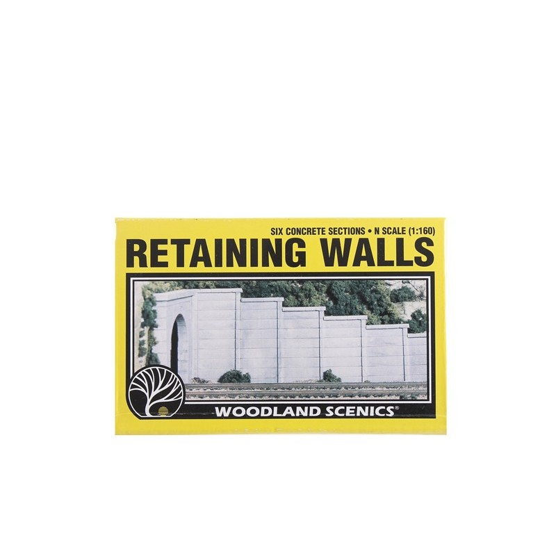 N Gauge Woodland Scenics C1158 6 x Concrete Retaining Wall Sections 1:160